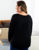 Striking Black Buckle Front Solid Color Plus Size Shirt Fashion For Women