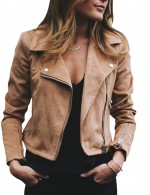 Bright Khaki Lapel Solid Color Zipper Short Jacket Large Size