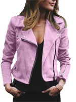 Light Pink Zipper Pockets Jacket Queen Size Long Sleeve Comfort Fabric