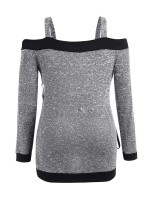 Extraordinary Gray Straps Large Size Sweater Lace-Up Women's Top
