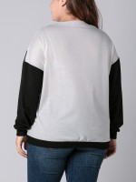 Bright Black Big Size Sweatshirt Round Collar Women Wholesale