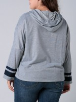 Graceful Gray Hoodie Drawstring Queen Size Full Sleeve Outfit