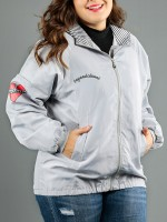 Sleek Silver Zipper Pocket Big Size Coat Hooded Neck For Holiday