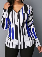 Distinct Blue Full Sleeves Queen Size Loose Shirt Casual Clothes