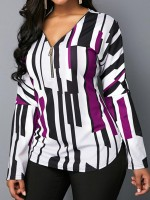 Boldly Purple Long Sleeves V Neck Top Plus Size Fabulous Fit