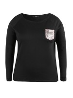 Black Sequin Chest Pocket Sweatshirt Big Size Superior Comfort