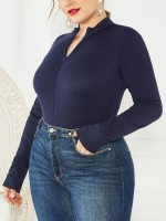 Artisan Deep Blue Long Sleeves Big Size Zip Bodysuit Top