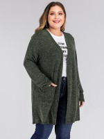 Glam Green Solid Color Cardigan Full Sleeve Cheap Fashion Style