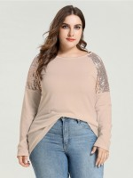Stretch Apricot Sequin Raglan Sleeve Round Neck Shirt For Camping