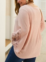 Chic Pink Hollow Out Lace Plus Size Shirt For Every Occasion