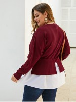 Modern Ladies Red Colorblock Plus Size Top V Collar
