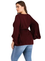 Holiday Red Queen Size Top Ruffled Round Neck Fashion Forward