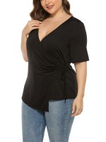 Fetching Black Side Knot Top Queen Size Short Sleeve Adult