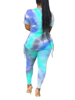 Fancinating Blue Ruched Big Size Top And Tie Dyed Pants For Women
