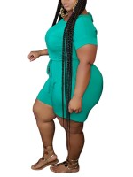 Striking Green Short Sleeve Queen Size Jumpsuit For Female