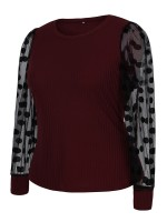 Faddish Wine Red Patchwork Round Collar Big Size Shirt Casual Comfort