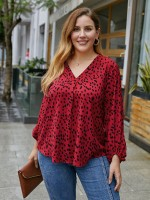 Enviable Red V Neck Plus Size Shirt Elastic Cuff Women Outfit