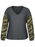 Premium Deep Gray Camouflage Stitching Top Plus Size For Ladies