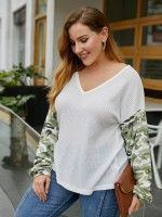 Lusty White Large Size V-neck Top Long Sleeves Comfort Fit