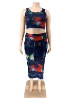 Stunning Strap Tie-Dyed Top Ruched Maxi Skirt For Girls