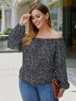 Sweet Black Full Sleeve Big Size Top Flat Shoulder Women's Fashion