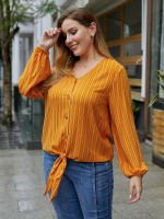 Abstract Yellow V-Neck Plus Size Tie Knot Stripes Top Casual Clothes
