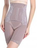 Slimming Stomach Grey Plus High Rise Butt Lifter Lace Trim Hooks