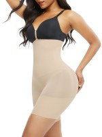 Nude Seamless Body Shaper Buckle Mid-Thigh Curve-Creating