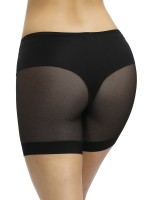 Super Comfy Black Sheer Mesh Mid-Waist Butt Enhancer Tummy Slimmer