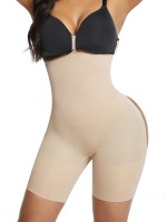 Skin Color Seamless Rear Lifting Shapewear Buckles High Waist With Glue
