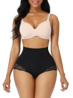 Black Seamless Plus Size Butt Lifter Lace Trim Shaping Comfort