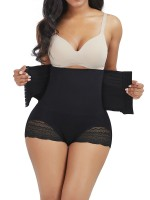Body-Hugging Black Front Hooks Lace Trim Seamless Panty Waist Trimmer