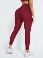 Wine Red High Waist Shaper Firm Control Leggings For Women