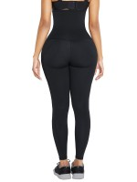 Black Pockets Shape Leggings High Waist 3 Hooks Good Elastic