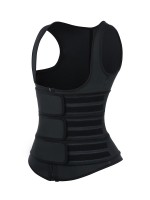 Black Latex Workout Waist Trainer Vest Three Belts Weight Loss