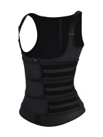Latex Vest Shaper Black Adjustable Strap Zipper Slimming Belly
