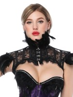 Instantly Slims Black Gothic Vintage Feather Shawl Collar