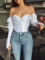 White Long Sleeve Back Lace-Up Corset Top Leisure Wear