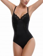 Black Shaping Bodysuit Adjustable Crotch With Three Rows Hooks