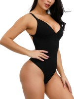Super Sexy Black Adjustable Straps Plus Size Shape Bodysuit Tailored Shape