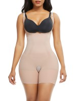 Well-Suited Skin Color Full Body Shaper Open Crotch Straps Fat Burner