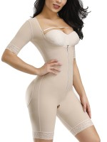 Elasticated Skin Color Lace Full Body Shaper Zipper Open Crotch High Quality