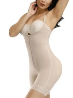 Glam Skin Color Full Body Shaper Zipper Lace Trim Hooks Midsection Compression