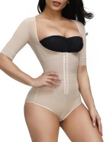 Desirable Designed Skin Color Full Body Shaper Solid Color Plus Size
