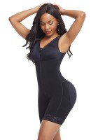 Extra Firm Control Black Full Bodysuit Lace Trim Large Size