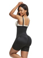 Body-Hugging Black Full Body Shaper Big Size Lace Trim Tight Fit