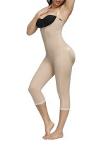 Glam Skin Color Zipper Midi Length Full Body Shaper Compression Silhouette