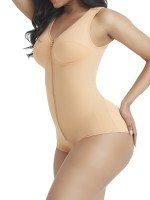 Slender Skin Color Wide Strap Zipper Full Body Shaper Compression