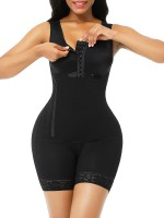 Black Full Body Shaper Glue Zipper Open Crotch Lace Custom Logo