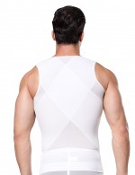Translucent Mesh Zipper Pattern Mens Slimming Vest Body Shaper